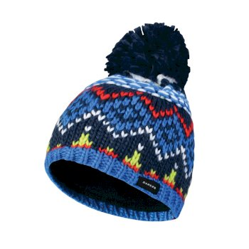 Kids Badges Bobble Beanie Hat Admiral Blue