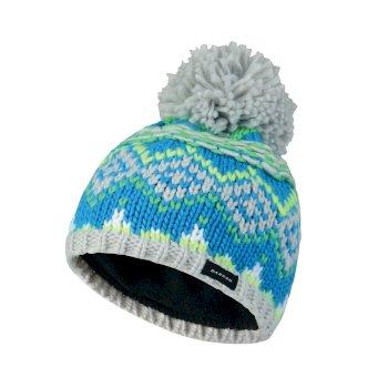 Kids Badges Bobble Beanie Hat Fluro Blue