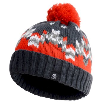 Boys' Agitate Bobble Hat Ebony Fiery Red