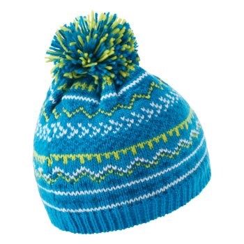Boys' Buzzer Fleece Lined Knit Bobble Beanie Methyl Blue Petrol Blue Space Grey