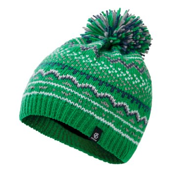 Boys' Buzzer Fleece Lined Knit Bobble Beanie Vivid Green Dark Denim Space Grey