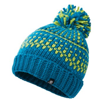 Boys' Agitate II Fleece Lined Knit Bobble Beanie Petrol Blue Methyl Blue Lime Punch