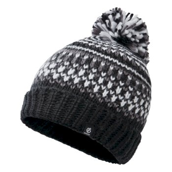 Boys' Agitate II Fleece Lined Knit Bobble Beanie Black White Aluminium Grey