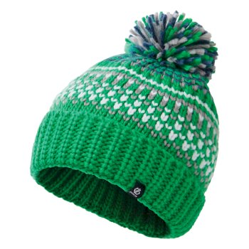 Boys' Agitate II Fleece Lined Knit Bobble Beanie Vivid Green Space Grey Dark Denim