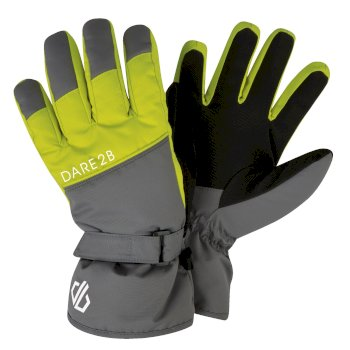 Boys' Mischievous Ski Gloves Aluminium Grey Citron Lime