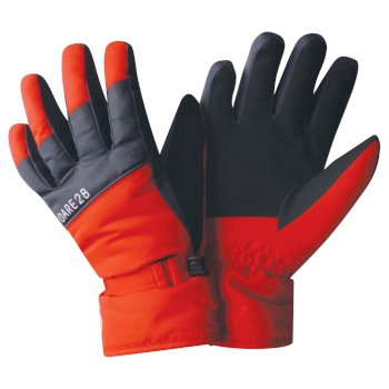 Boys' Mischievous Ski Gloves Fiery Red Ebony