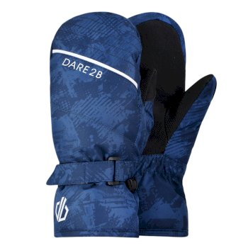 Boys' Roaring Ski Mitts Dark Denim Geo Camo Print