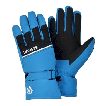 Boys' Unbeaten Waterproof Breathable Ski Gloves Petrol Blue Black
