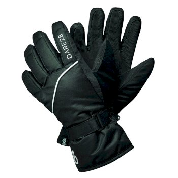 Boys' Mischievous II Water Repellent Ski Gloves Black White