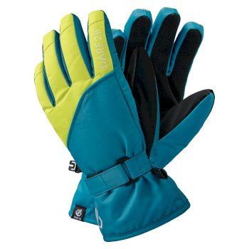 Boys' Mischievous II Water Repellent Ski Gloves Petrol Blue Lime Punch