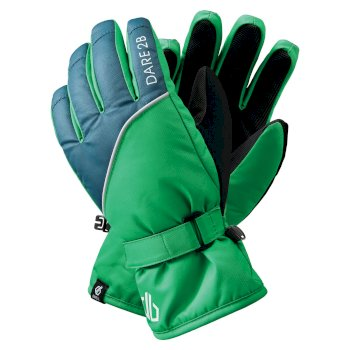 Boys' Mischievous II Water Repellent Ski Gloves Vivid Green Dark Denim
