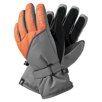 Boys' Mischievous II Water Repellent Ski Gloves Aluminium Grey Blaze Orange