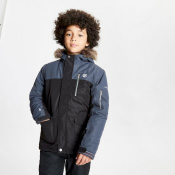 Boys' Furtive Fur Trimmed Ski Jacket Black Ebony Grey