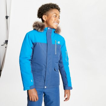 Boys' Furtive Fur Trimmed Ski Jacket Dark Denim Petrol Blue