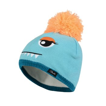 Kids Watch Out II Face Beanie Hat Bahama Blue