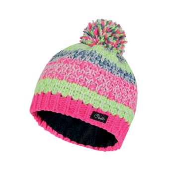 Kids Superflash Bobble Beanie Hat Cyber Pink