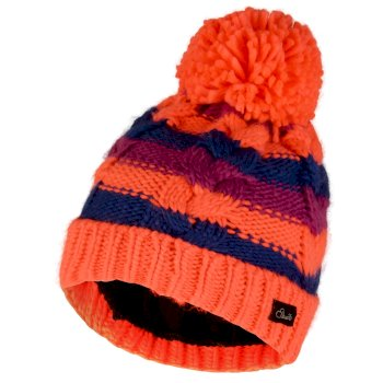 Kids Candies Bobble Beanie Hat Fiery Coral