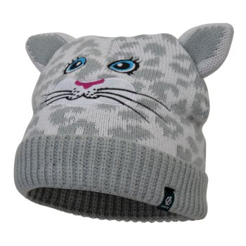 Girls' Brainwave Animal Beanie White Snow Leopard