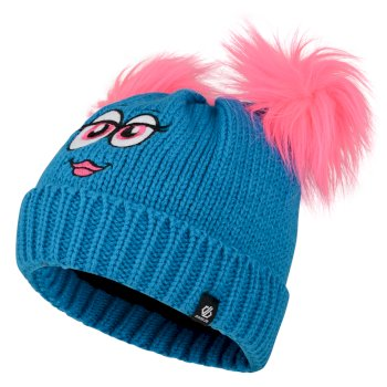 Girls' Brainwave Animal Beanie Atlantic Blue Face