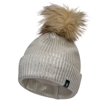 Girls' Convince Metallic Bobble Hat White