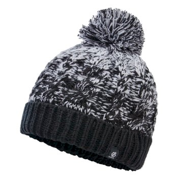 Girls' Lively II Fleece Lined Knit Bobble Beanie Black White