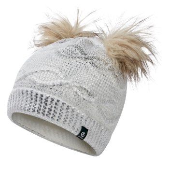 Girls' Genius Cable Knit Faux Fur Bobble Beanie White