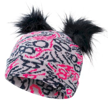Girls' Genius Cable Knit Faux Fur Bobble Beanie Neon Pink Dark Denim