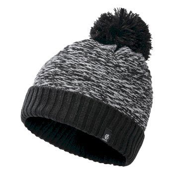 Girls' Hastily II Fleece Lined Knit Bobble Beanie Black White