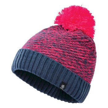 Girls' Hastily II Fleece Lined Knit Bobble Beanie Dark Denim Neon Pink