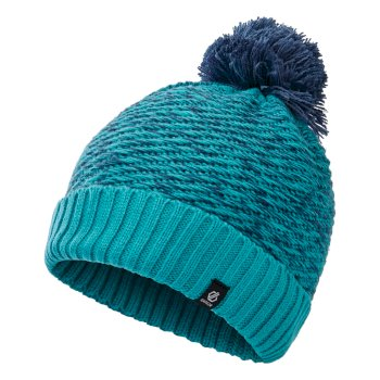 Girls' Hastily II Fleece Lined Knit Bobble Beanie Ceramic Blue Dark Denim