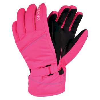 Girls' Impish Waterproof Insulated Ski Gloves Neon Pink