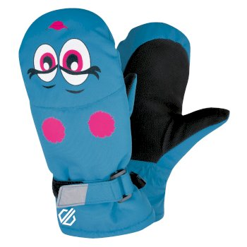 Girls' Brainwave Animal Ski Mitts Atlantic Blue Face