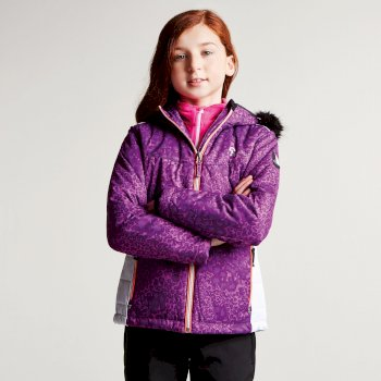 Kids Muse Luxe Ski Jacket Ultra Violet Purple Leopard Print