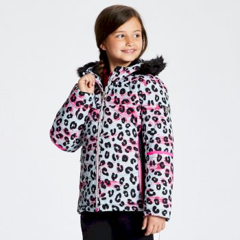 Girl's Elusive Faux Fur Trim Hood Luxe Ski Jacket White Leopard