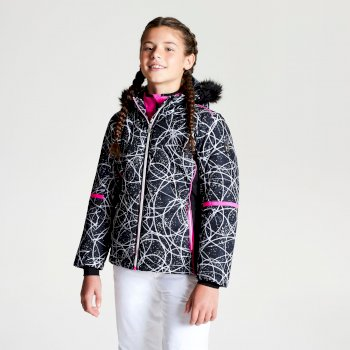 Girl's Elusive Faux Fur Trim Hood Luxe Ski Jacket Black Energy Print