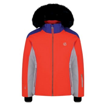 Girls' Vast Fur Trimmed Ski Jacket Fiery Coral Simply Purple