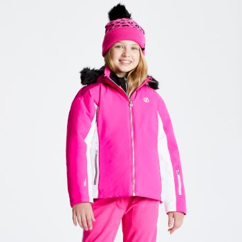 Girls' Vast Fur Trimmed Ski Jacket Cyber Pink Fuchsia