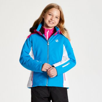Girls' Vast Fur Trimmed Ski Jacket Atlantic Blue Cyber Pink
