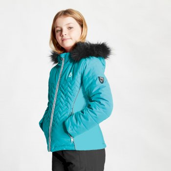 Girls' Snowdrop Waterproof Fur Trim Hooded Ski Jacket Ceramic Blue