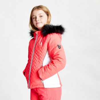 Girls' Snowdrop Waterproof Fur Trim Hooded Ski Jacket Neon Pink White