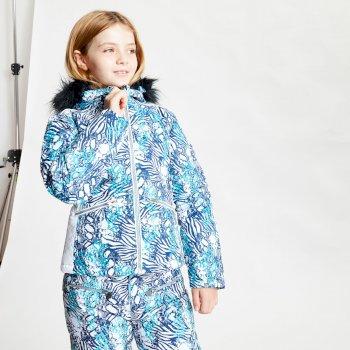 Vetse de ski Junior Fille imperméable FAR OUT avec capuche en fausse fourrure  Bleu