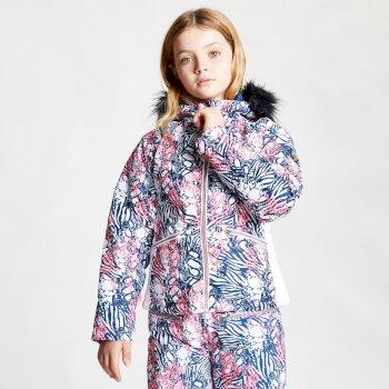 Vetse de ski Junior Fille imperméable FAR OUT avec capuche en fausse fourrure  Rose