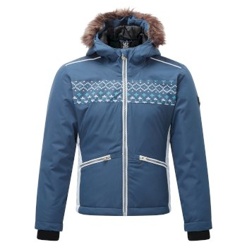 Girls' Far Out Waterproof Fur Trim Hooded Ski Jacket Dark Denim