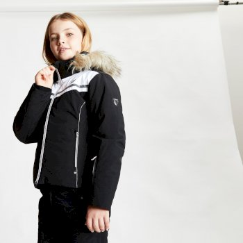 Girls' Estimate Waterproof Fur Trim Hooded Ski Jacket Black White