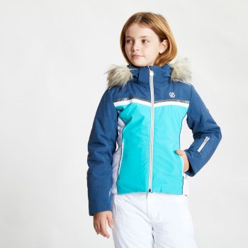 Girls' Estimate Waterproof Fur Trim Hooded Ski Jacket Ceramic Blue Dark Denim