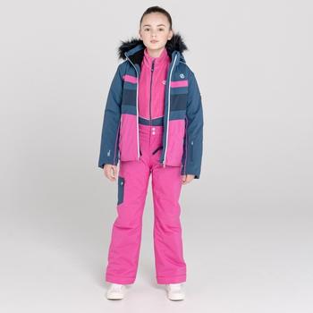 Girls' Belief Waterproof Ski Jacket Dark Denim Rasberry Roose