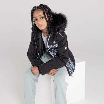 Girls' Belief Waterproof Ski Jacket Black and White Snow Leopard Print