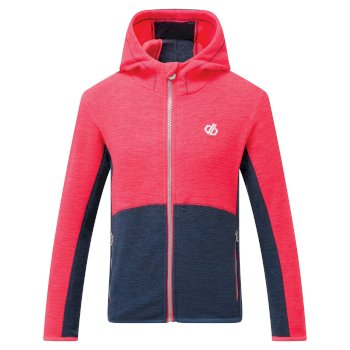 Kids' Genesis Full Zip Hooded Fleece Neon Pink Dark Denim