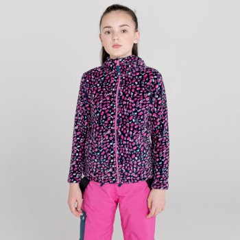 Kids' Gambol Hooded Full Zip Fleece Raspberry Rose Snow Leopard Print