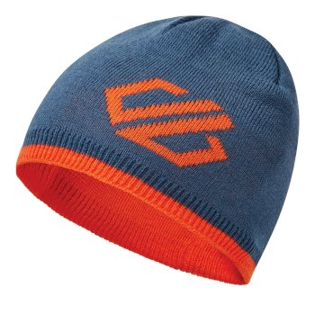Kids' Frequent Beanie Hat Dark Denim Blaze Orange